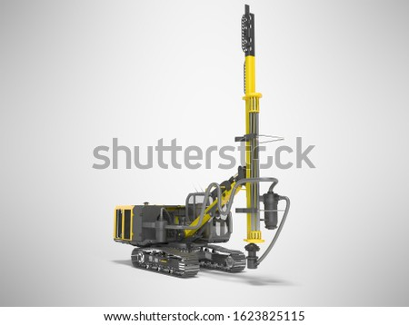 Yellow drill rig for drilling piles 3D rendering on gray background with shadow