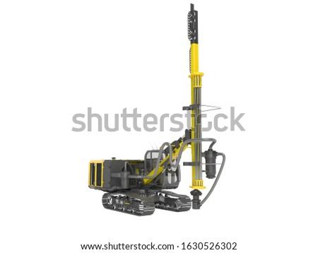 Yellow drill rig for drilling piles 3D rendering on white background no shadow