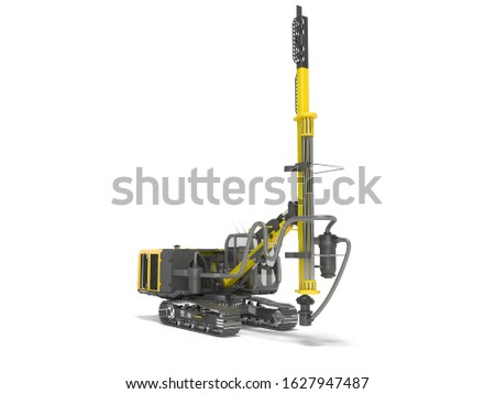 Yellow drill rig for drilling piles 3D rendering on white background with shadow