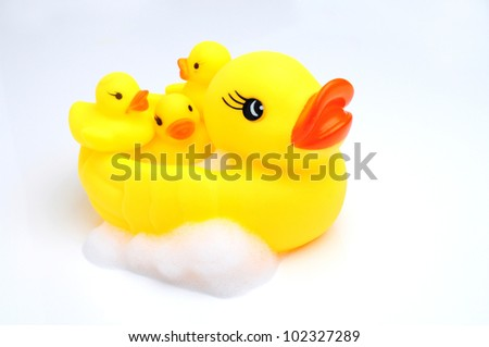 yellow duck with baby