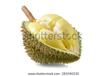 yellow durian in side Mon Thong durian fruit on white background