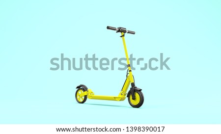 Yellow e-scooter and scooter against blue background on the subject of city mobility (3d rendering)