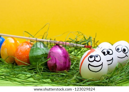 yellow easter background with funny eggs