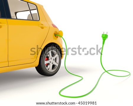 yellow electric car  on white
