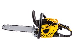 Yellow electric chain saw, isolated on white background