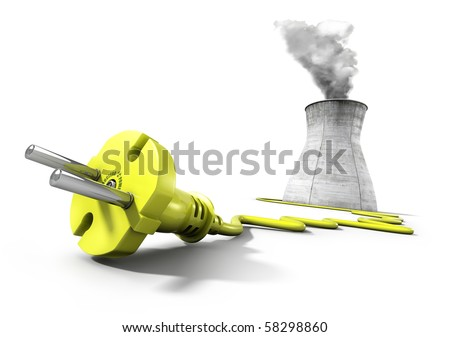 Yellow electrical plug with cooling tower of nuclear power plant in the background