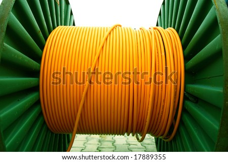 yellow electricity cable on  spool