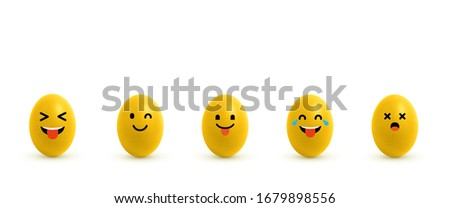 Yellow emoji eggs on a white background. Eggs with different emoji symbol faces. Laughing emotikon eggs. Stock fotó ©