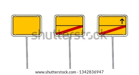 Yellow Empty German City Sign With Free Copy Space - Isolated On White Background