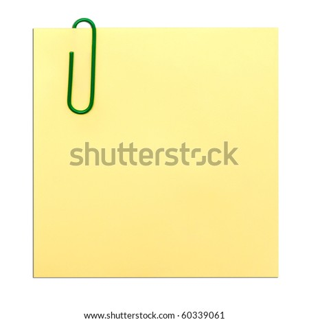 yellow empty note isolated on white