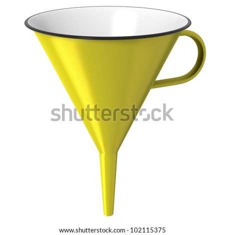 Yellow enamel funnel or cone isolated on white background