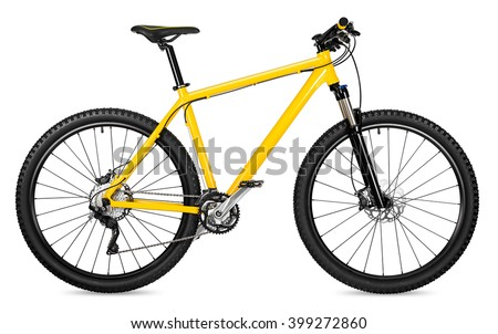yellow 29er mountain bike isolated on white background #399272860