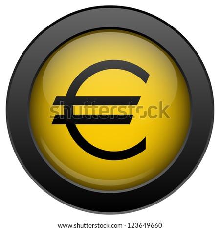 Yellow euro icon, isolated on white background