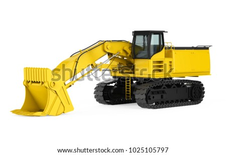 Yellow Excavator Isolated. 3D rendering