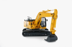 Yellow Excavator loader on  a white background