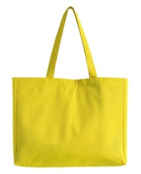 yellow fabric bag isolated on white with clipping path