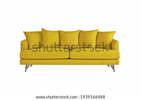 Yellow fabric sofa on brushed metal legs with pillows isolated on white background. Series of furniture Foto stock ©
