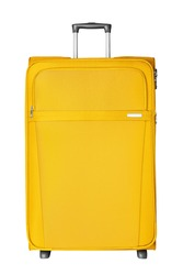 Yellow fabric travel suitcase with zipper, handle and lock white background isolated close up front view, large cloth baggage case, big textile luggage trolley bag, summer holidays, tourism, vacation