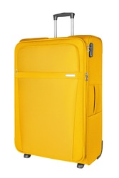 Yellow fabric travel suitcase with zipper, handle and lock white background isolated close up side view, large cloth baggage case, big textile luggage trolley bag, summer holidays, tourism, vacation