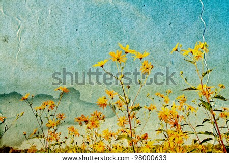 yellow field flowerses on grunge background