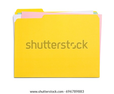 Yellow File Folder with Messy Papers Isolated on White Background. #696789883