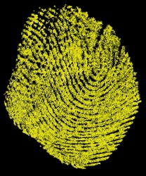 Yellow fingerprint on a black background