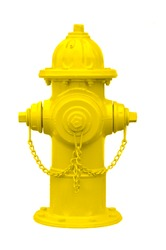 Yellow fire hydrant isolated on white.