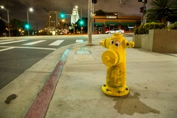 Yellow fire hydrant, Los Angeles, USA