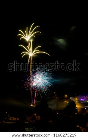 Yellow firework. Amazing fireworks, fireworks 2019, fireworks background, fireworks event, Celebration in the town. #1160275219