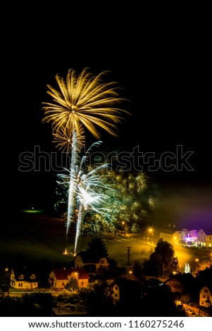 Yellow firework. Amazing fireworks, fireworks 2019, fireworks background, fireworks event, Celebration in the town. #1160275246