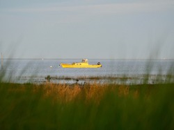 Yellow fishing boat in Bassin d'Arcachon, France