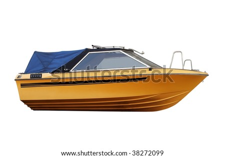 Yellow fishing boat with clipping path