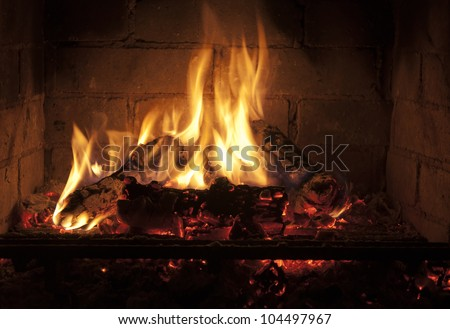 yellow flames in the fireplace