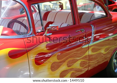 Yellow Flames on Red Vintage Car