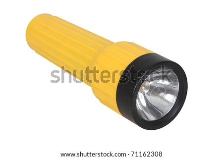 Yellow flashlight isolated on white background.