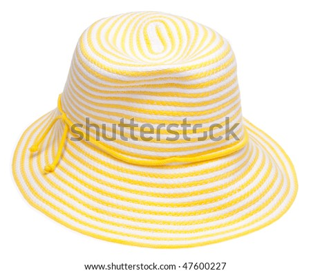 Yellow floppy hat perfect for a summer day at the beach.  Isolated on white with a clipping path. #47600227