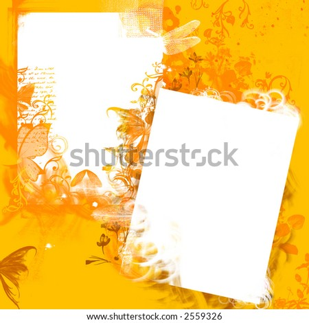 Yellow floral grunge background - stock photo