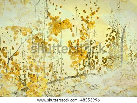 Yellow Flower Grunge Art Background