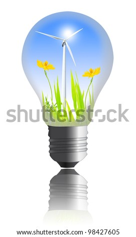 yellow flower with wind turbines inside the light bulb  isolated on white background
