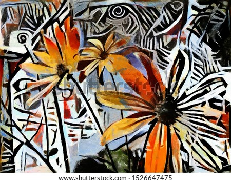 Yellow flowers. Executed in oil on canvas with elements of acrylic painting. Abstraction in the modern style of cubism.