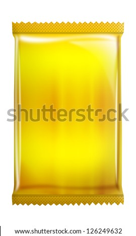 Yellow foil - Metallic bag package pouch isolated on white background - stock photo