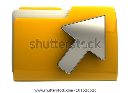 Yellow folder and arrow icon. Date download isolated on white background High resolution 3D - stock photo