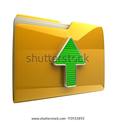 Yellow folder and arrow icon. Date download isolated on white background High resolution 3D
