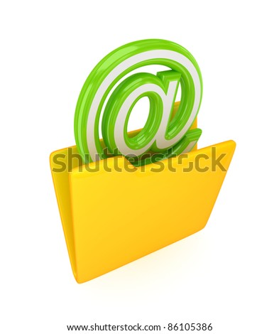 Yellow folder and green email sign.Isolated on white background.3d rendered.