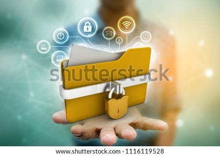 Yellow folder and lock. Data security concept. 3D rendering #1116119528