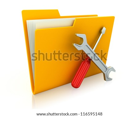 Yellow folder and tools. Computer technical service. Isolated 3D image