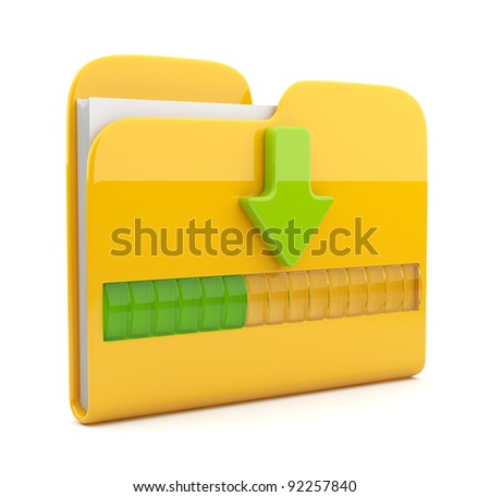 Yellow folder 3D icon. Date downloading concept. Isolated on white
