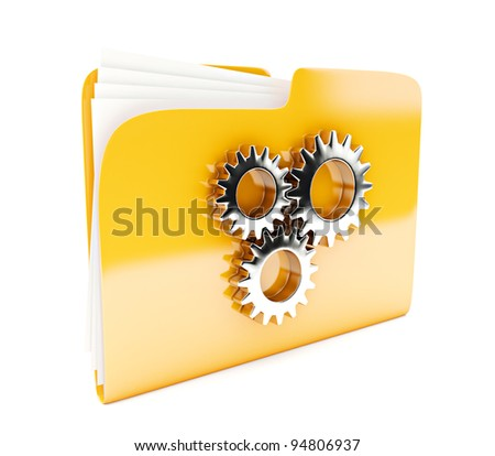 yellow folder 3d icon with cogwheel isolated on white