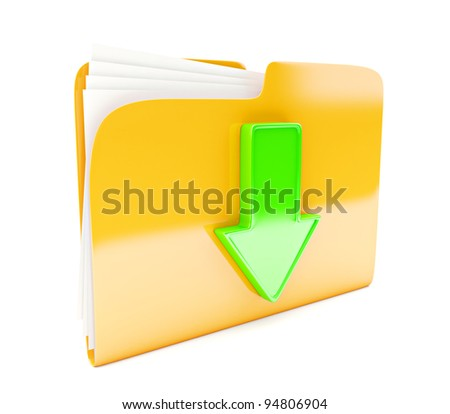 yellow folder 3d icon with green arrow (download sign) isolated on white