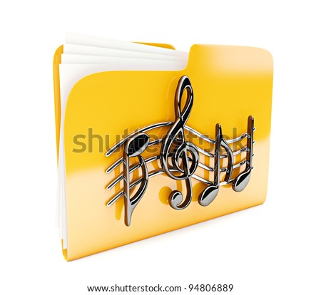 yellow folder 3d icon with musical notes isolated on white